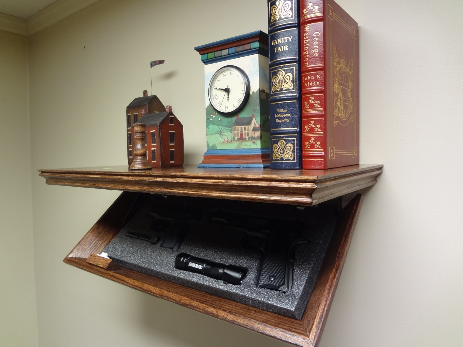 23 Concealment Shelf Oak With Magnetic Lock 23m Timbuck2