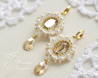 "Bridal swarovski earrings, white and gold dangle beadwoven earrings ""Bride"""