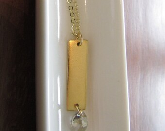 Swarovski Clear Crystal Mini Pear Drop with Antique Gold Rectangle Tag