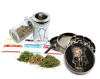 "Skull- 2.5"" Zinc Alloy Grinder & 75ml Locking Top Glass Jar Combo Gift Set Item # G022115-006"