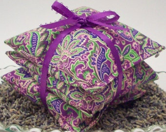 "Lavender Aromatherapy Sachets - Purple Paisley Floral - Set of 3 Lavendar Drawer Freshener Bags - 3 3/4"" x 3 3/4"""