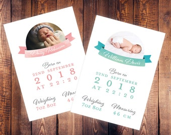 New Baby Announcement Print | Baby Announcement Card | Baby Girl | Baby Boy