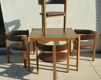 DANISH MODERN DESIGN 1960s Card Table And 4 Chairs Beautiful Wood With  Brown Naugahyde Upholstery In