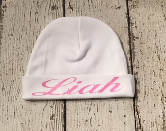 Newborn Girl Name Hat - newborn baby hat - white and pink baby hat - new baby hat - baby girl hat - take home hat - newborn photo prop hat