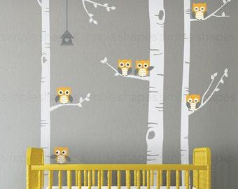 Birch Tree Wall Decal, Birch Tree With Owls Wall Sticker Set, Birch Tree Decal, Baby Nursery Wall Stickers W1118
