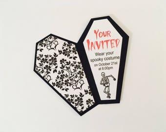 Halloween Coffin Invitations