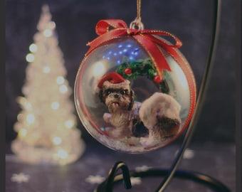 Custom Pet Sculpture Christmas Bauble Ornament Single 8cm