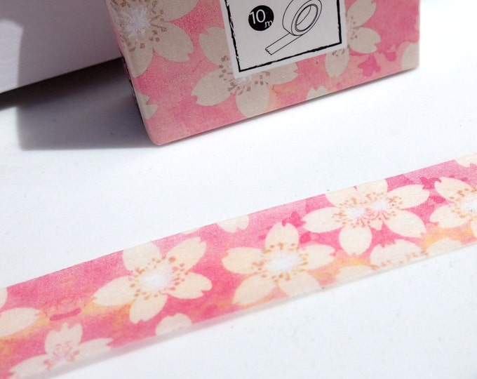 White Flowers on Pink Washi Tape - Paper Tape Great for Scrapbooking Paper Crafts and Decorations - Pretty Floral Springtime 15mm x 10m