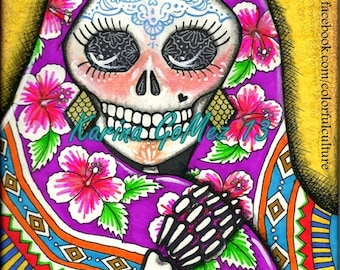 The Shawl - Chale!!!-  Art Print by Karina Gomez - Day of the Dead - Dia de los Muertos Art - Mexican Art by Colorful Culture