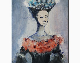 Summer night Queen Woman in art Painting acrylic on Canvas  Original