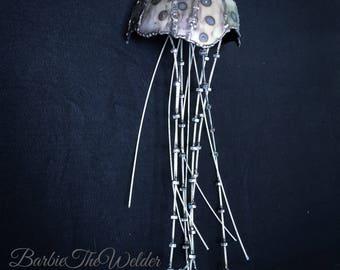 Spotted Jellyfish Sculpture Repurosed Metal Art Ocean Creature