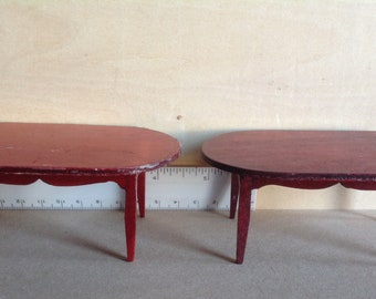 2 Dollhouse Miniature Wooden Table
