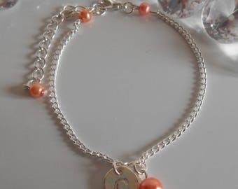 Coral personalized silver initial bracelet
