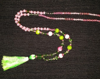 Pink/Green Glass Bead Tassel Necklace