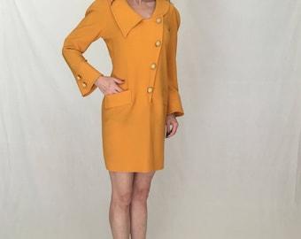 Knit 80s mini dress women M/military button up batwing dolman long sleeve Vintage 80s dress/orange/double breasted blazer mini skirt suit