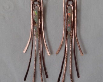 Ethiopian Fire Opal Antiqued Copper Textured Wire Wrap Dangle Earrings 100% Hand Crafted October Birthstone