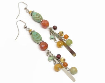 Colorful Boho Earrings, Gypsy Style Dangle Earrings, Bohemian Style Earrings, Green Czech Glass Earrings, Unique Earrings, Gift For Her