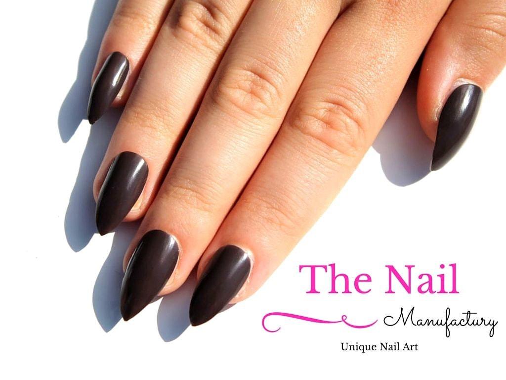 Coffee Brown Fake Nails - Glossy False Nails -Handpainted Nail Set ...