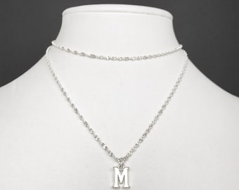 Silver Initial Necklace Layering Letter Charm Pendant Sterling Silver Chain