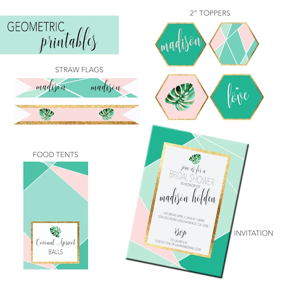 Geometric Party Printables, Printable Modern geo invitation, Bridal Shower printables by Just A Little Sparkle