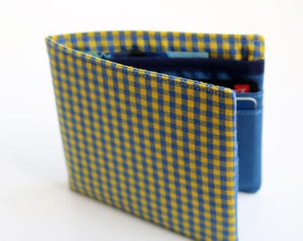 Mens wallet, Wallet, Billfold, Vintage Upcycled Fabrics, Yellow plaid, Handmade by Knotted Nest on Etsy