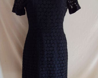 Vintage black cotton lace dress with satin slip size 8