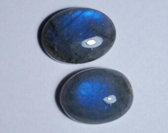 60% OFF - 16x12 mm Blue Labradorite Large Cabochon - Labradorite Stone - Smooth Blue Flash 2 Pieces Wholesale Price (Q-15)