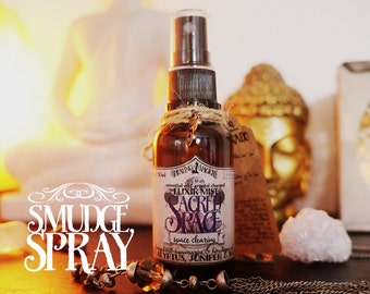Smudge Spray *Sacred Space* with Essential Oils and Crystals -Juniper, Eucalyptus, Sage, Aquamarine & Himalayan Salt (1oz - 30ml)