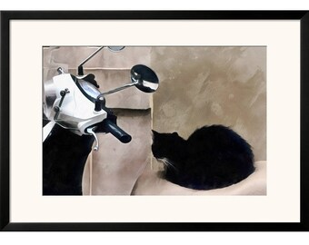 Printable Wall Art Digital Painting Black Cat on Bike Istanbul Instant Download Poster JPEG Print