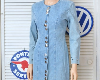 Vintage Womens 80s Dress Stonewash Denim Silver Buttons & Studs Shoulder Pads My Michelle Cotton Mini Skirt Rockstar Junior Petite Small
