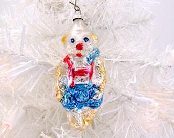 Vintage Glass Figural Bear Christmas Holiday Ornament German Bear Wearing Lederhosen