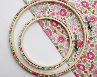 D'Ajio Pink and Green Embroidery hoop frame. Tana Lawn Fabric Wrapped Embroidery Hoop.  Hoop-La frame. liberty arts fabric