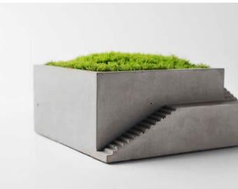 Handmade Concrete Architectural Square Succulent Planter, Plant Pot, Flower Pot, Cement pot, Cement planter, Cement succulent pot