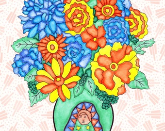 Painting / Art Print / Flower Nature Garden / Unique Artwork Gift /Holy Mother Virgin Mary Baby Shower Girl's Room / Guadalupe Flower Vase