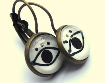 Evil Eye Earrings Black and White Glass and Brass Boho Fashion Jewelry