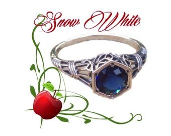 Snow White Solid Sterling Silver Blue Sapphire Size 7 Ring