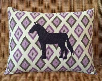 "Appliquéd Horse Pillow, Grape Wool Felt Draft Horse with Purple, Taupe, and Ivory Diamond Ikat Print, 12"" x 16"""