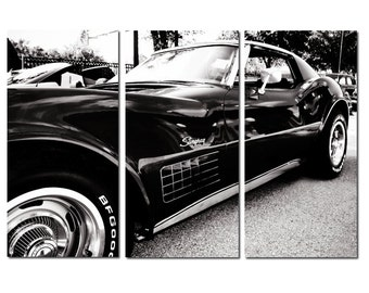 Chevrolet Corvette Stingray Canvas Triptych, 3 Panel Art, LARGE, Ready to Hang