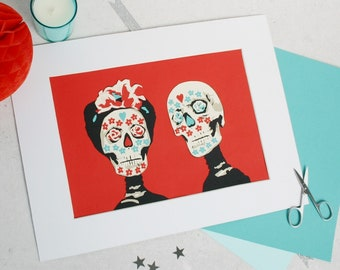 Sugar Skulls Wedding Papercut A4 - Day of the Dead Skulls - First Paper Anniversary Gift - Dia De Los Muertos Wedding - Ready To Ship