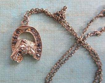 Vintage Horseshoe necklace Horse Jewelry Vintage rhinestone jewelry Good luck