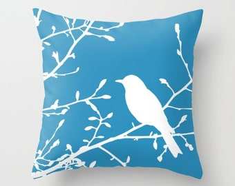 Bird on Branch pillow with insert Cover - Blue Decor - Blue pillow with insert Cover - Modern Home Decor - By Aldari Home