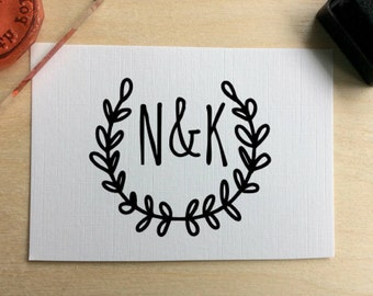 Personalised Initials stamp, Initials rubber stamp, custom wedding stamp, gift tag stamp, wedding favor stamp, favor tag