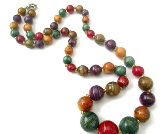 Vintage plastic bead necklace, multi colored bead necklace, jewel tone bead necklace, vintage plastic necklace