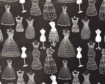 """Vintage pattern """"COUTURE bust"""" black cotton/linen fabric and white 47 * 50cms"""