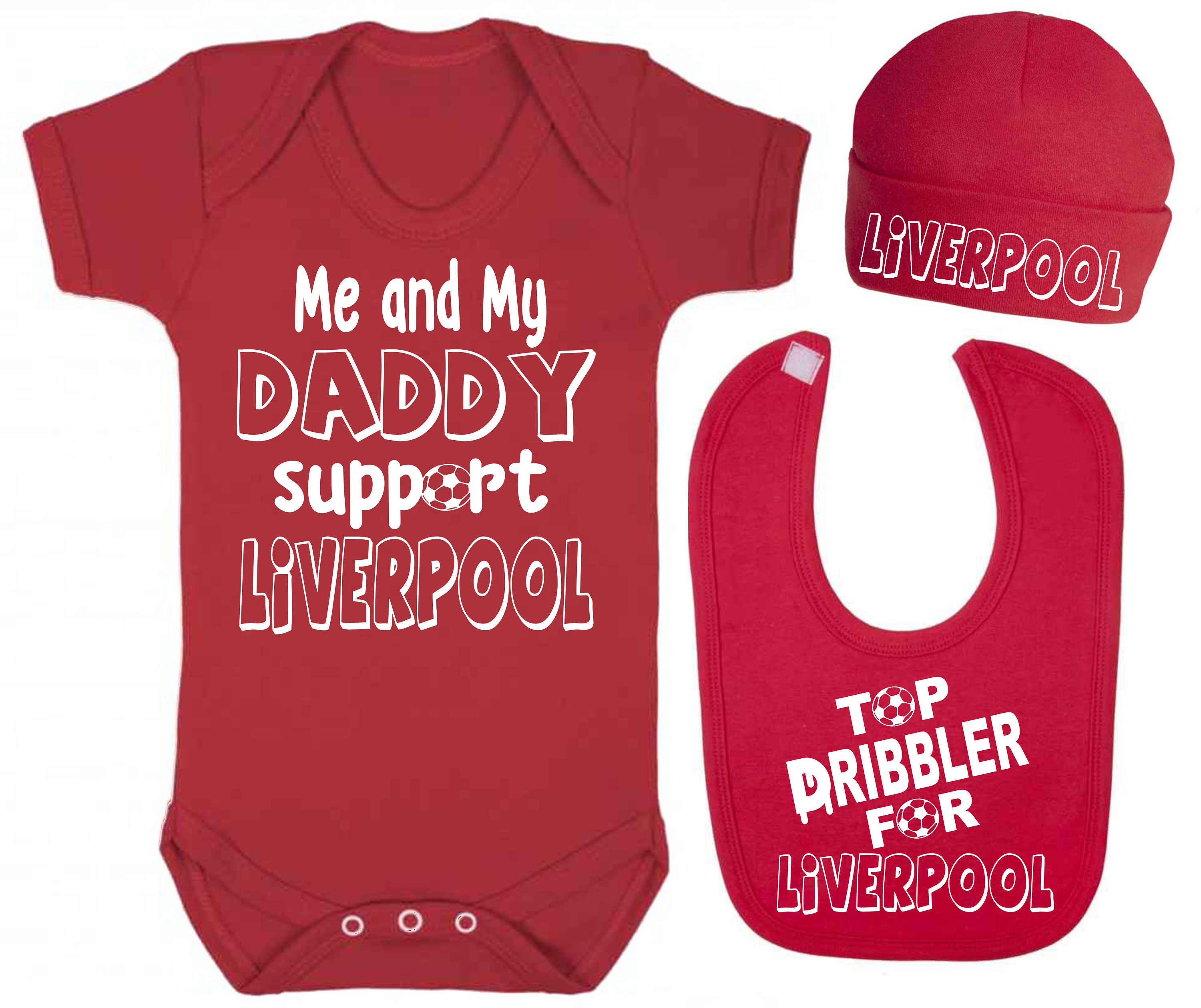 Me and My Daddy Support Liverpool Baby Vest Hat and Bib Set