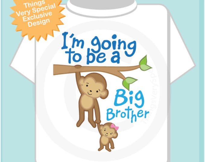 I'm Going to Be A Big Brother Shirt, Big Brother Onesie, Personalized Big Brother Monkey Shirt with Little Sister Monkey (02182014e)
