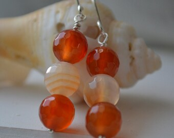 Multi color Carnelian and Sterling Silver Long Earrings Handmade
