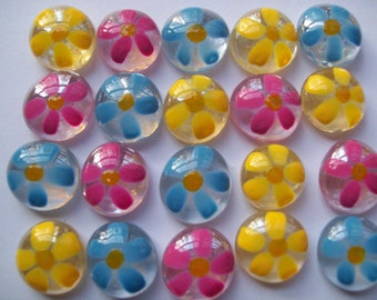 Hand painted Glass Gems pink blue and yellow Daisy Daisies Flowers for crafts decorations