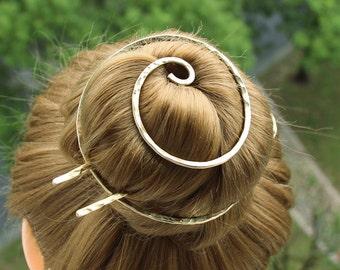 Gold Hair Pin Hair Clip with Hair Fork, Hair Barrette Bun Holder Hammered Hair Bun Cover, Hair Bun Cage, Hair Accessories for Women Gift