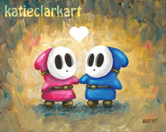 Shy Guys in Love - Shy Guy Painting - Shy Guy Print - ShyGuy Art - Nintendo Art - Mario Brothers Villain Print - Video Game Art